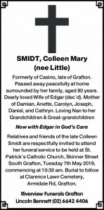 SMIDT, Colleen Mary