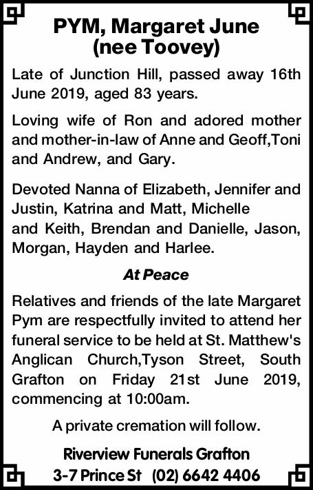 PYM, Margaret June