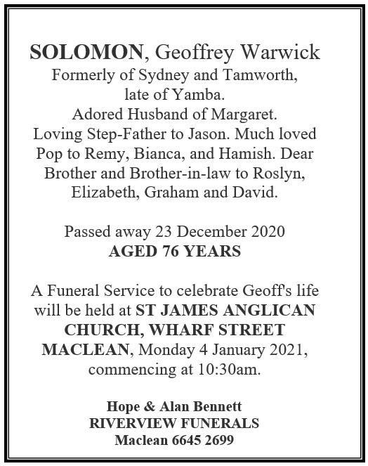 SOLOMON, Geoffrey Warwick